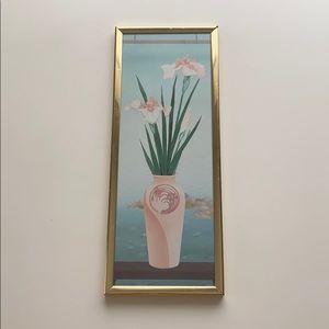Vintage Floral Vase Art Piece Gold Frame